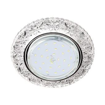 """Ecola GX53 H4 LD7040 искристый с подсветкой """"Бабочки"""" Прозрачный / Хром"""